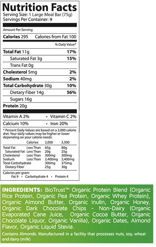 BioTrust Protein Bars Nutrition Facts