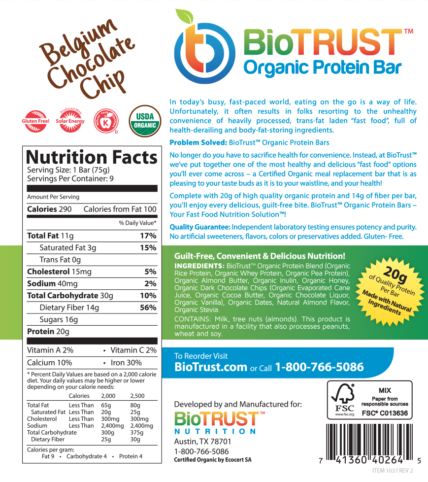 BioTrust Protein Bars - Belgium Chocolate Chip