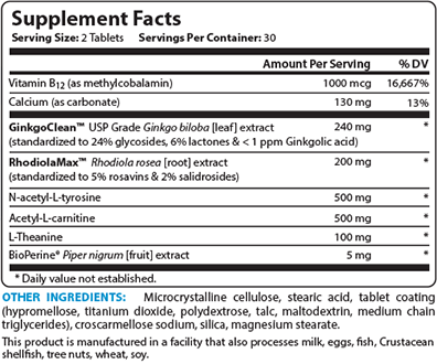 Brain Bright Supplement Facts